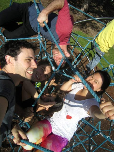 GALLERY - SCAVENGER HUNT 2013 - 29. Hanging off the web structure as a team
